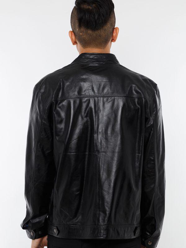 Áo da cừu dáng trơn màu đen