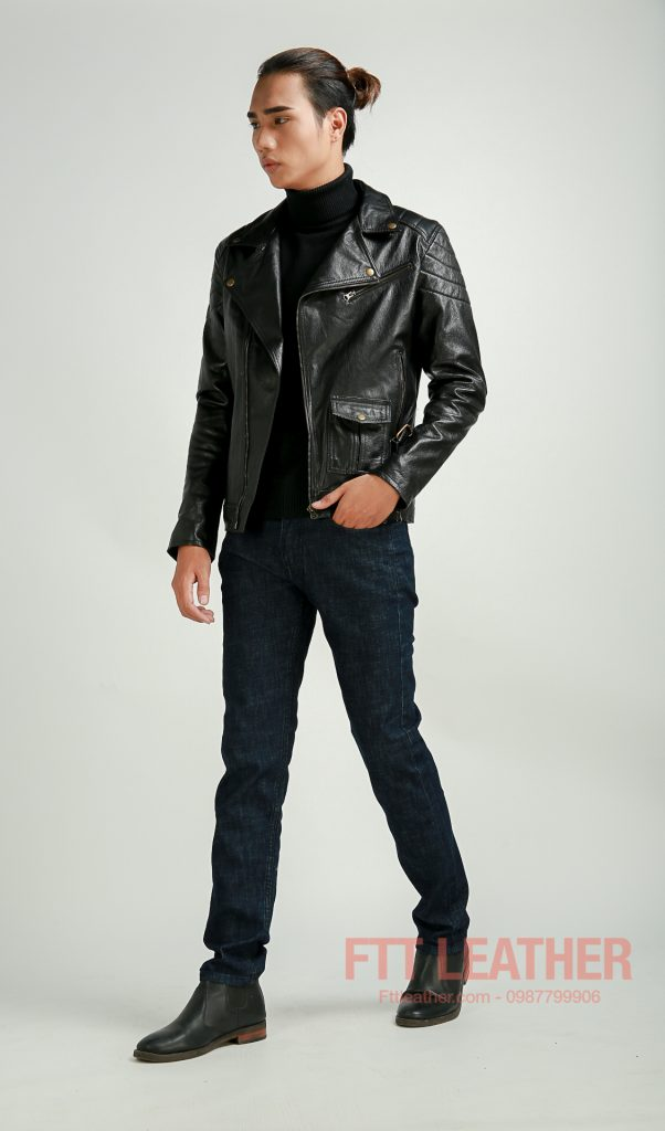 Áo da Double Rider màu đen
