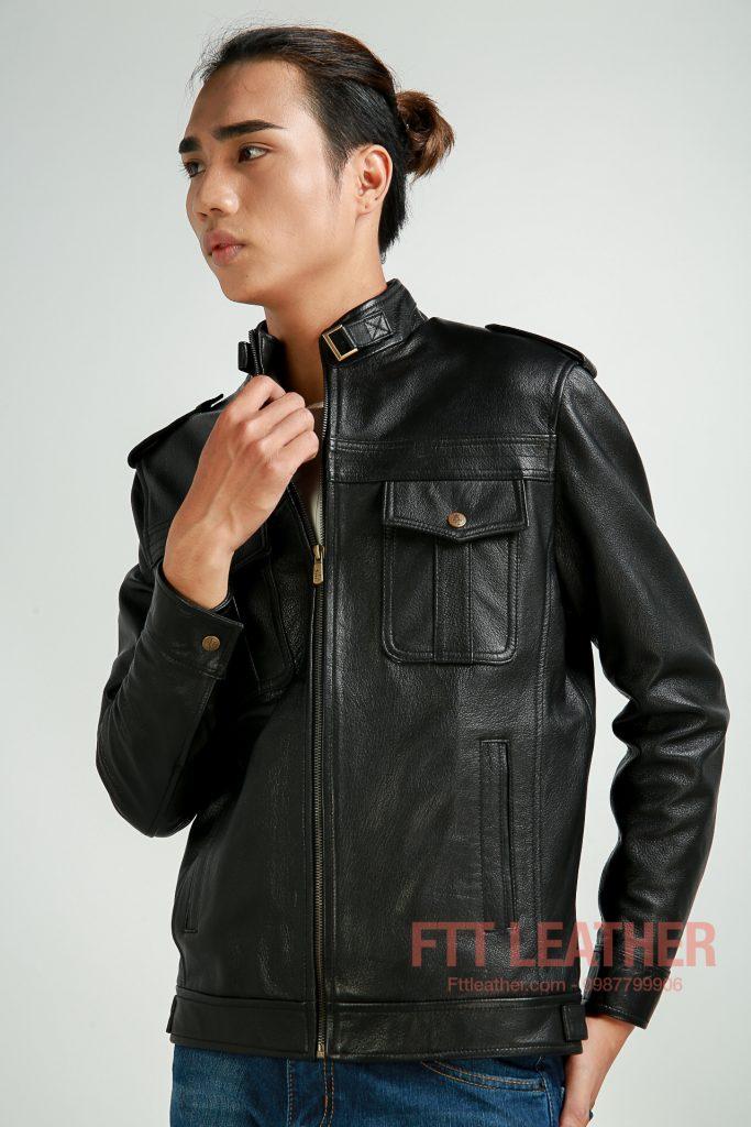 Áo da dê 2 túi hộp màu đen