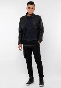 Áo da dê 2 túi ngực màu đen