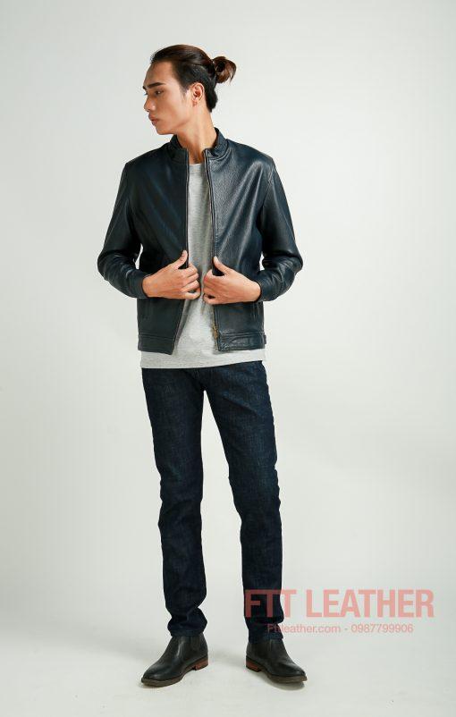Áo da nam màu xanh cổ vịt
