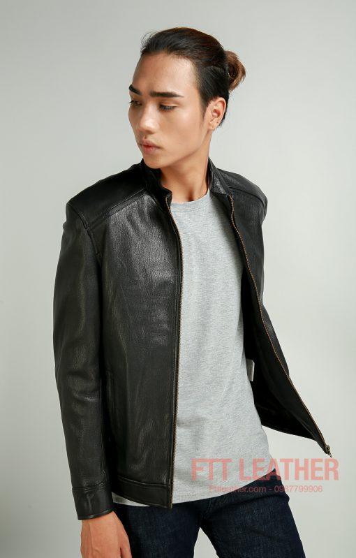 Áo nam da dê cổ tròn màu đen